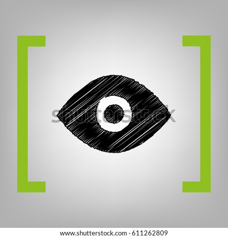 Eye sign illustration. Vector. Black scribble icon in citron brackets on grayish background.