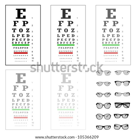 eye test chart with glasses, vector - stock vector