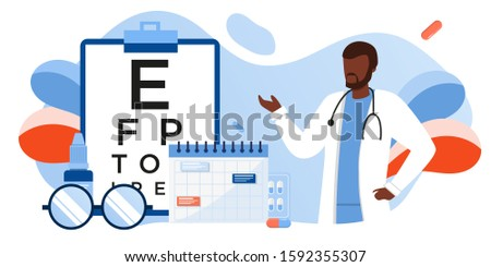 Eye test procedure and prescription glasses concept. Ophthalmology medical concept with glasses, eye examination, eye drop. Ophthalmologist online doctor eyesight check up. For banner, landing, flyer