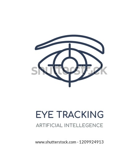 Eye tracking icon. Eye tracking linear symbol design from Artificial Intellegence collection.