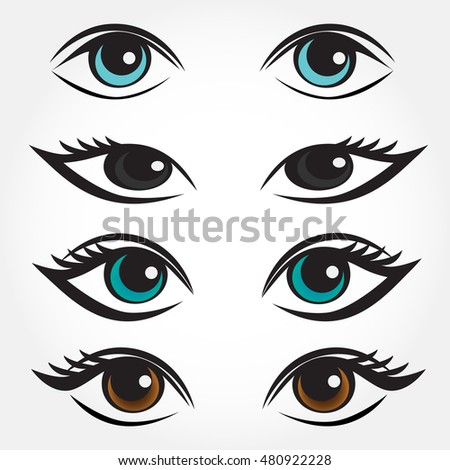 eye vector set man  asian