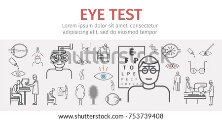 Eye vision test banner. Line icons set. Infographics. Vector signs for web graphics
