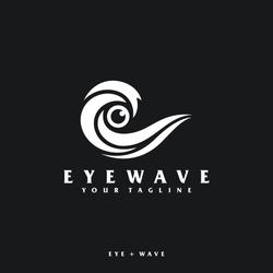 eye & wave logo design concept illustration.