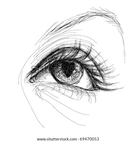 Eye with heart pupil / realistic sketch (not auto-traced)