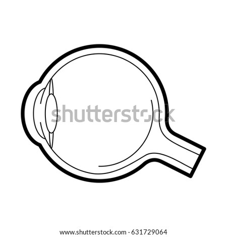 Eyeball anatomy icon, medical side view line art pictogram, image for ophthalmology patient education materials, eye doctor poster, optical salon, eye health concept. Flat style vector illustration