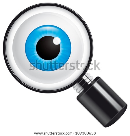 Eyeball in magnifying glass