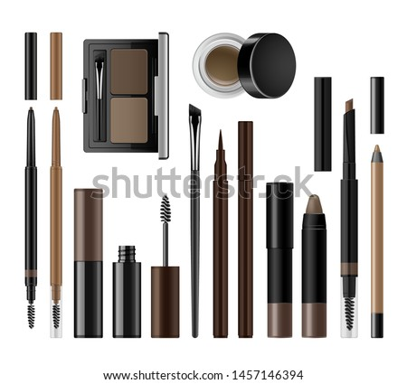 Eyebrow cosmetics set. Brow make up vector realistic products. Packaging mock up for branding and advertising. Eyeshadow palette case, brush, eyeliner, brow gel, pencil, pomade, color definer.