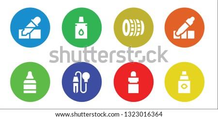 eyedropper icon set. 8 filled eyedropper icons.  Simple modern icons about  - Pipette, Eye drops, Eyedropper, Lens, Eye dropper