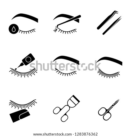 Eyelash extension glyph icons set. Silhouette symbols. Makeup tools. Primer, cluster, tweezers, glue, curler, scissors, stop touching, before and after eyelash extension. Vector isolated illustration