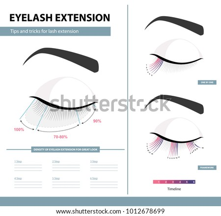 Eyelash extension guide. Density of eyelash extension for great look. Tips and tricks. Infographic vector illustration. Template for Makeup and cosmetic procedures. Training poster