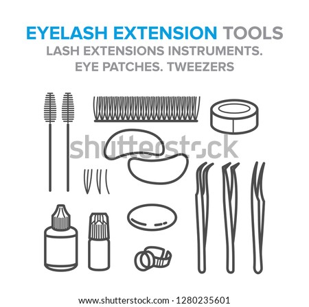 Eyelash extension tools. Lash extensions instruments. Eye patches. Tweezers. Illustration for your design Foto stock ©