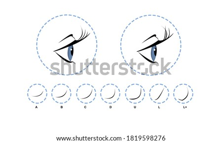 Eyelash extension, Woman's eye with long thick eyelashes. Close-up, selective focus. Leadership. Infographic vector illustration Foto stock ©