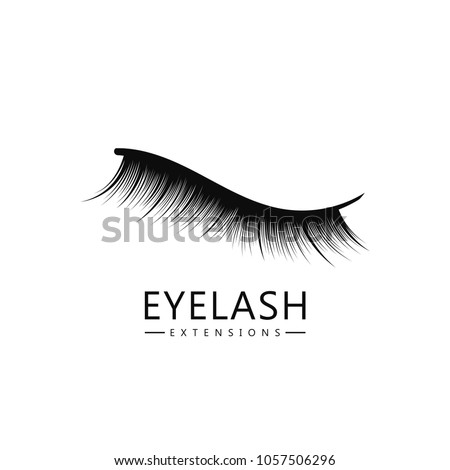 Eyelash logo template, Eyelash extension concept. Lush black lashes on white background for makeup and cosmetic industry. Vector