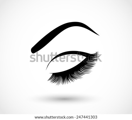 eyelashes and eyebrows vector