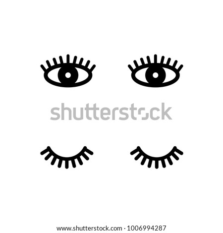 Eyelashes. Open and close eyes. Cute lashes. Vector illustration isolated on white background.