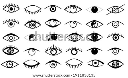 Eyes and eye icon set vector collection. Outline eye icons. Open and closed eyes images, sleeping eye shapes with eyelash, vector supervision and searching signs. Human vision. Set of eye flat style.