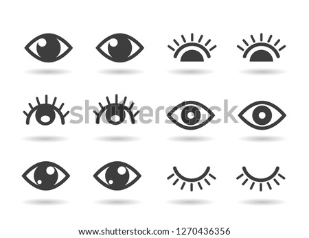 Eyes and eyelashs icons. Open ad closed human eye icon set, cute graphic silhouettes vector eyes