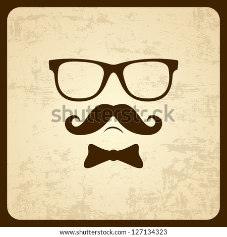 Eyes and moustache. Vector illustration - stock vector