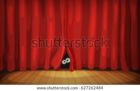Eyes Behind Red Curtains On Wood Stage/ Illustration of funny cartoon human, creature or animal character's eyes hiding and looking from behind red curtains in theater wooden stage