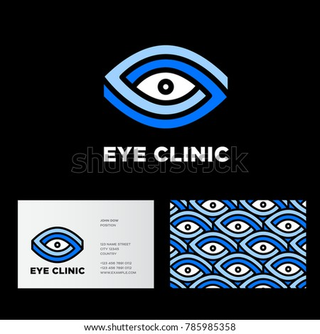 Eyes clinic logo. Ophthalmology of the emblems. Stylized eyes and letters. Impossible figure.