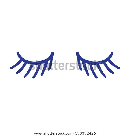 Eyes Closed Lashes Hand Drawn Vector Illustration Blue Lines Ez