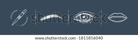 eyes, eyebrows, lips - set of linear vector icons. tattoo for the face. cosmetology. beauty services. facial tattoo machine. youth and beauty