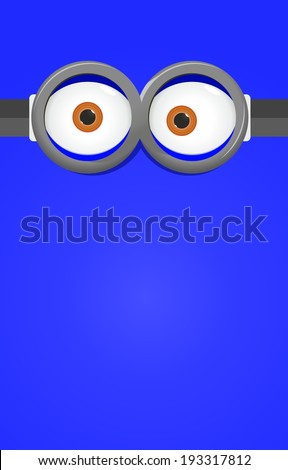 Eyes in glasses on blue background