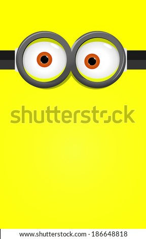 Eyes in glasses on yellow background