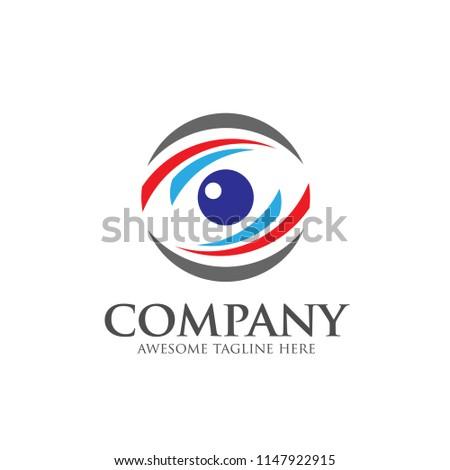 Eyes Logo vector template, circle Vision Logotype concept, optic and eye lens logo vector