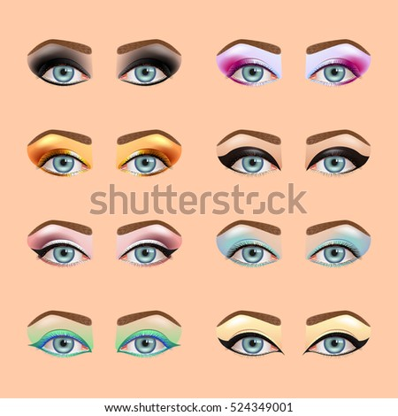 eyes makeup icons detailed