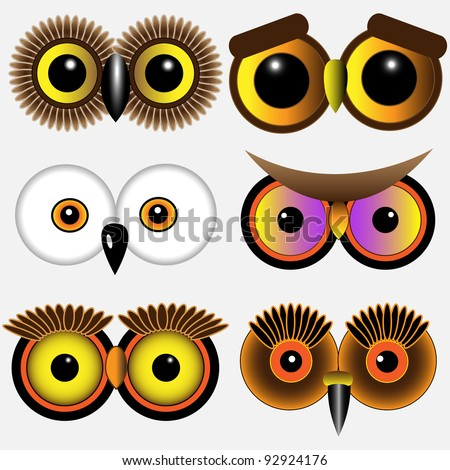 Eyes of owls.Vector set