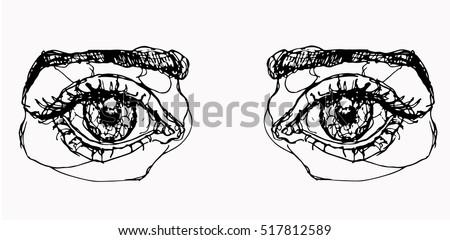 Eyes on white background. Eyes outline. Eyes doodle. Eyes illustration. Eyes vector. Eyes color. Eyes icon. Eyes isolated. Eyes girl. Eyes design. Eyes element. Eyes object. Eyes woman. Eyes eps10.