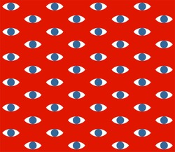 Eyes pattern on red background vector illustration