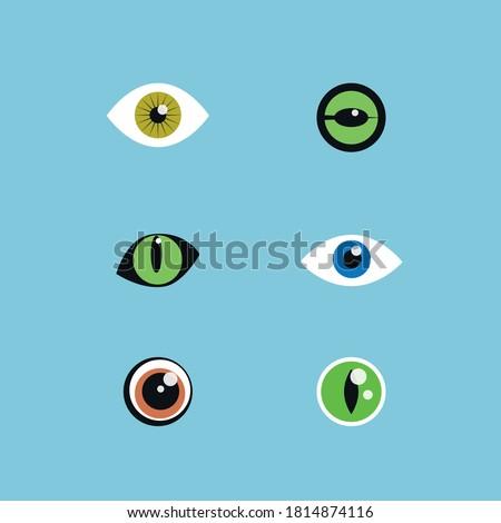 Eyes set ( cat eye, dog eye,  human eye, snake  and frog eyes) Wild eyes set  Eye icons Pet eyes icon