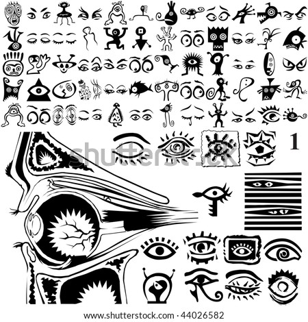 Eyes set of black sketch. Part 102-1. Isolated groups and layers.