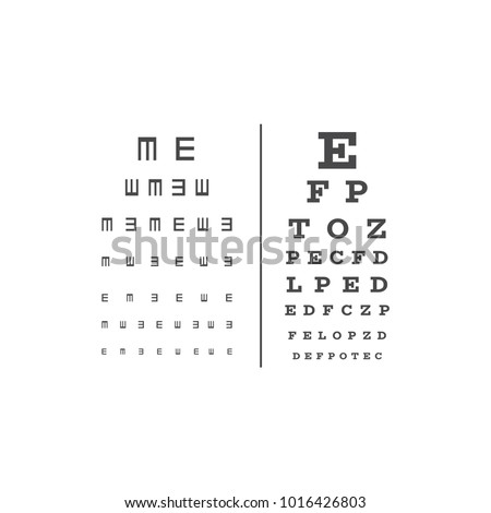 Eyes test chart with latin letters