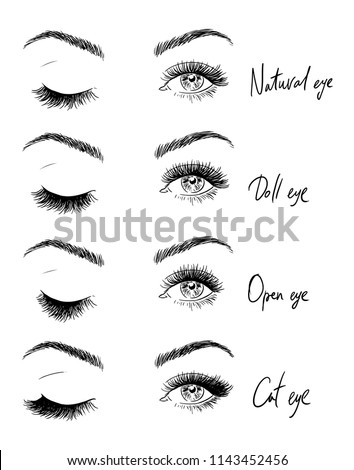 Eyes with eyelashes. Types of eyelash extensions.