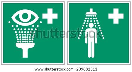 Eyewash station, Safety shower safety signs (eps 10)