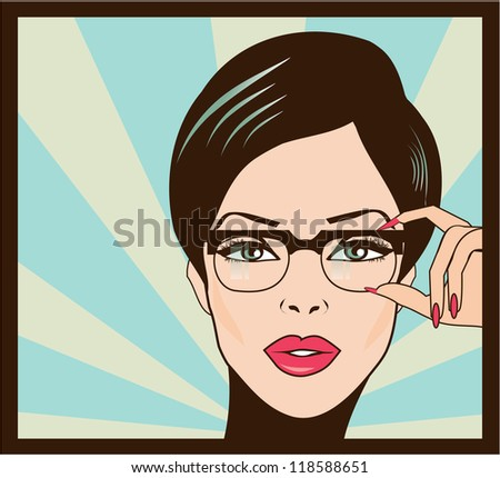 Eyewear glasses woman closeup portrait.