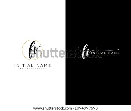 F I Initial handwriting logo vector. Hand lettering for designs.
