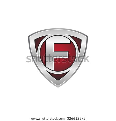 F initial triangle circle shield red