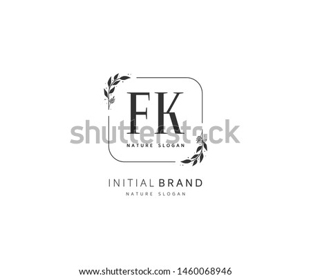 F K FK Beauty vector initial logo, handwriting logo of initial signature, wedding, fashion, jewerly, boutique, floral and botanical with creative template for any company or business. Stock fotó ©