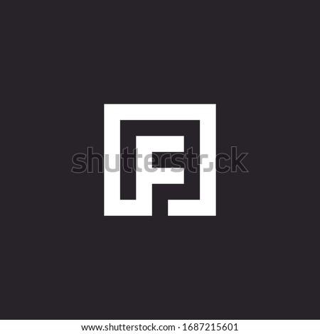 F letter abstract design line minimalist graphic logo template Foto stock ©