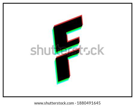 F letter font, vector desing logo.Dynamic, split-color, shadow of  number red, green, blue in black frame on white background. Eps10 illustration Stock fotó ©