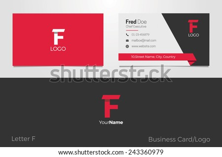 F Letter Logo Corporate Business card