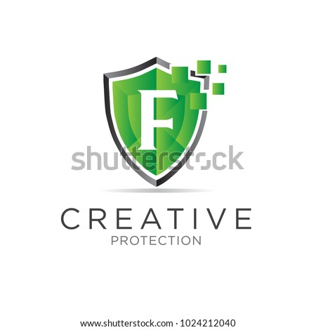 f letter shield protection logo