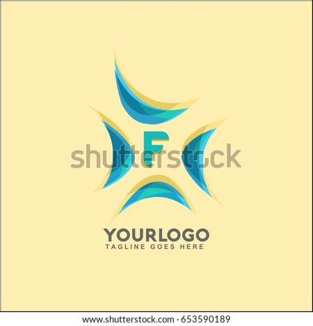 f letter water wave logo template sea wind vector illustration