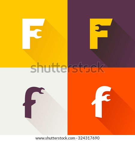 F letter with wrench logo set. Vector repair design template elements for your application or corporate identity. Foto stock ©