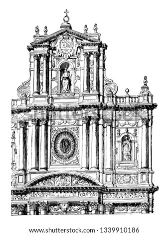 Façade of the Church of St. Paul and St. Louis at Paris Church is located in Paris Rue Saint Antoine in the Marais an example of Jesuit architecture vintage line drawing or engraving illustration.