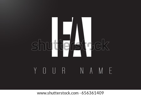 FA Letter Logo With Black and White Letters Negative Space Design.